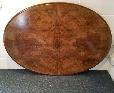 Beautiful Victorian burr walnut oval tilt top breakfast/Loo table & Table Cover