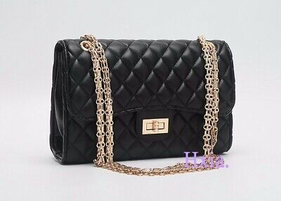 f1627f61a32854 New Shoulder Bag Handbag Purse Quilted Patent Leather Flap Chain Strap  Baguette
