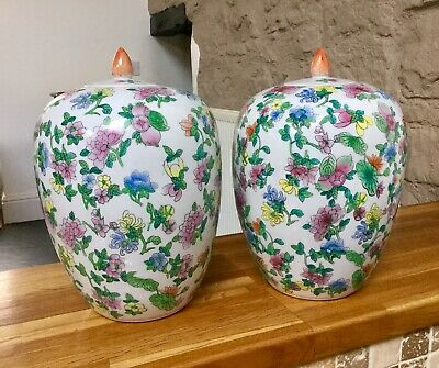 Pair Of LARGE Vintage Chinese Lidded Jars Famile Rose Marked Made In China