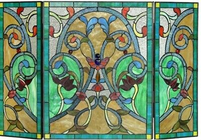 """44"""" Victorian Vint Tiffany Style Stained Glass Fireplace Screen 3pc Folding Deco"""