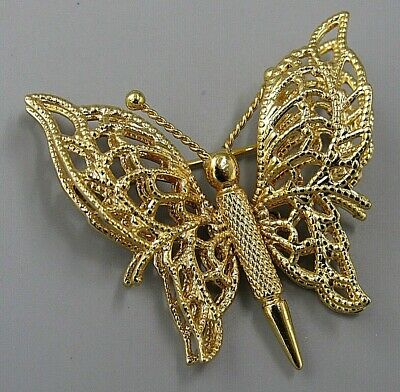f696fa7ec8f Vintage Jewelry Signed MONET Textured Gold Butterfly BROOCH PIN Rhinestone  Lot O