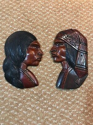 Pair Of Vintage Native American Style Placque
