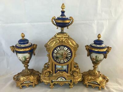 GOOD 19th CENTURY FRENCH ORNATE ORMULO AND PORCELAIN CLOCK GARNITURE