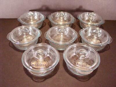 Set Of 8 Vtg. Fire King Philbe Small Casseroles W/ Lids Never Used Orig Labels