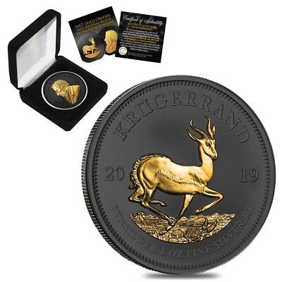 2019 South Africa 1 oz Silver Krugerrand Black Ruthenium 24K Gold Edition (w/Box