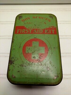 Vintage Boy Scout Official First Aid Kit With Belt Loops and Contents
