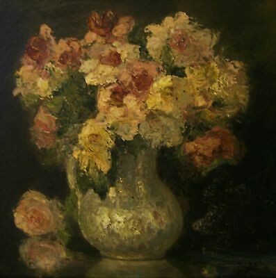 """MARCEL DYF """" PIVOINES FLOWERS """" Antique Signed Oil Painting On Board Dated 1938"""