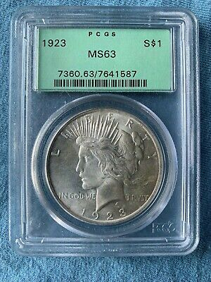 1923 PCGS MS63 Peace Silver Dollar OGH Old Green Holder $1