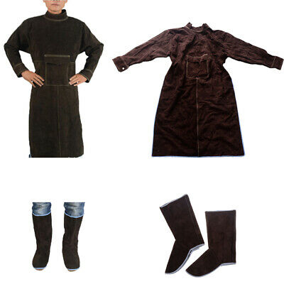 Welding Work Apron for Men XXL+ 1Pair Protective Shoes Welder Clothing,Brown