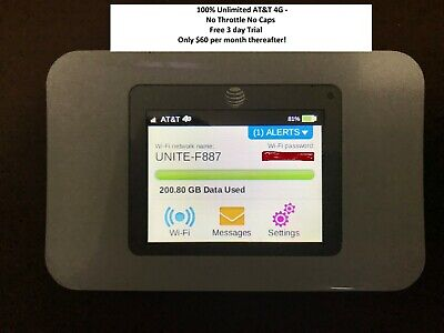AT&T HotSpot UNLIMITED DATA 4G LTE + 3 Days FREE Trial + LIFETIME Warranty