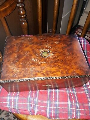 Antique Victorian burr walnut  Wooden Sewing or Work Box