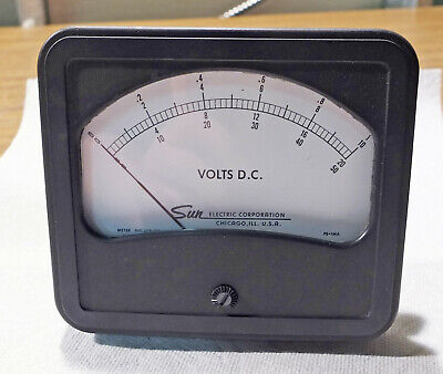 Sun Electric Analog Panel Meter, 0-1/0-10/0-20/0-50 Volts