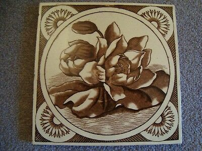 Aesthetic style sepia/brown coloured floral tile 19/69