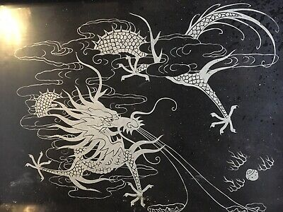 Old Vintage Dragon Chinese Tray Stunning Brilliant Amazing Silver Hand Painted