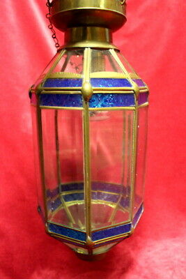 French Vintage Brass Victorian Lantern/Hanging Ceiling  lamp with glass