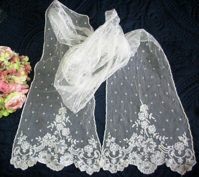 """ANTIQUE TAMBOUR~NEEDLERUN EMBROIDERED NET LACE SCARF/STOLE~108"""" x 11""""~PERFECT"""