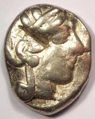 Ancient Athens Greece Athena Owl Tetradrachm Coin (454-404 BC) - Fine Condition
