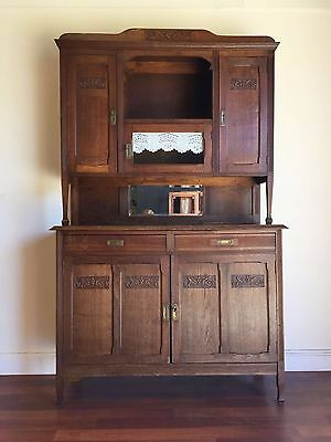 Antique French Art Deco Oak Dresser Buffet Sideboard Carved - ok142