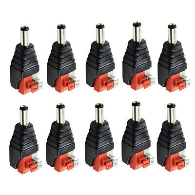 10pcs CCTV Camera DC Power Connector Male Connector 12V Red + Black