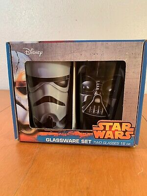 Disney Star Wars Glassware Set of Two Glasses 16oz Darth Vader, Storm Trooper NW