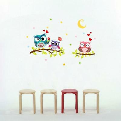 Colour Owl Birds Branch Art Wall Stickers Removable Mural Kid Bedroom Decor WE