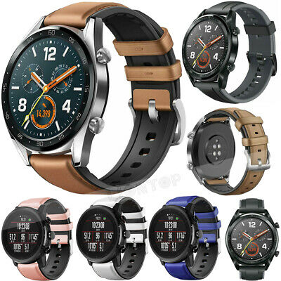 Genuine Leather & Silicone Wrist Band Strap For Huawei Watch GT Active / Elegant