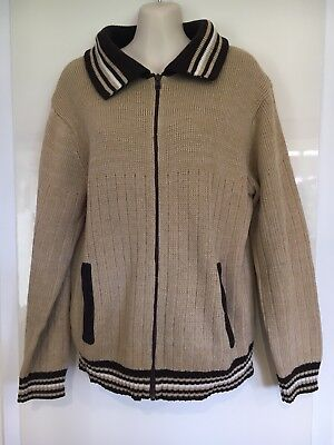 Vintage Target 70s Ugly Brown Knit Zip Up Cardigan With Pockets Size 90 (90cm)