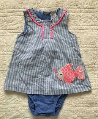 New Infant Girls One Piece Outfit With Fish Applique 9 Months