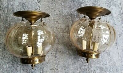 Two Vintage Amber/Gold Glass Ceiling Light Fixtures Globes Bohemian 3-lights