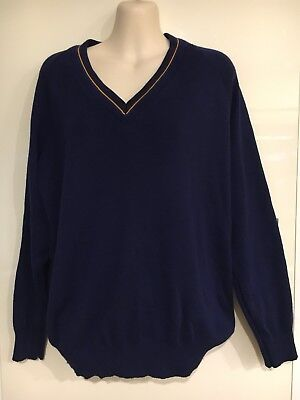 Vintage Retro NOONE Softfeel Kitted Navy V Jumper Size 95 (80% New Marino Wool)