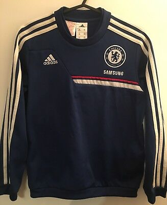 Chelsea Football Soccer Training Sweatshirt Size Youth 9-10 Years Old Adidas