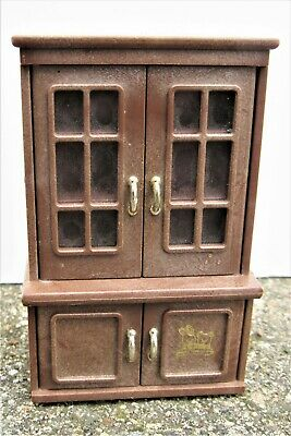Vintage 1986 Bandai Maple Town Story Dining Room China Cabinet Hutch dollhouse