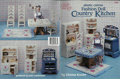 Fashion Doll Country Kitchen PLASTIC CANVAS Needlepoint chart book furniture