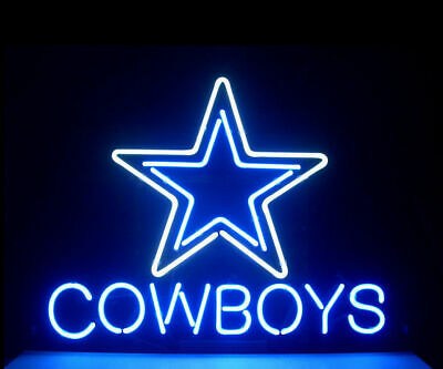 "New Dallas Cowboys Neon Sign 14""x10"" Light Lamp Poster Decor Man Cave Bar Beer"