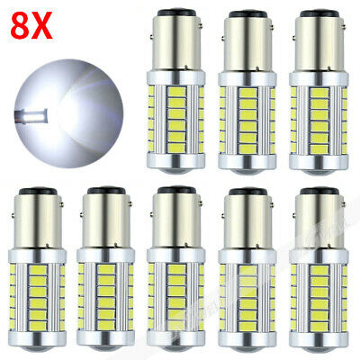 8X LED Car White Bulbs BA15D P21W 1157 Backup Reverse Light 33-SMD 5630 5730 12V