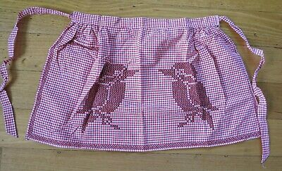 4 x VINTAGE RETRO cross stitched GINGHAM Aprons cat kookaburra tulips rooster