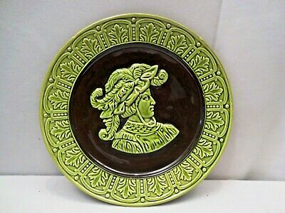 Antique Majolica Plate Platter Ceramic Wall Hanging King Head Embossed Porcelai*