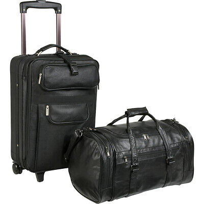 AmeriLeather Leather 2 Pc. Carry-On Set - Black Luggage Set NEW