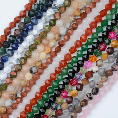 Natural Gemstone Star Cut Faceted Grade Polygons Bracelet Spacer Beads 6/8/10MM