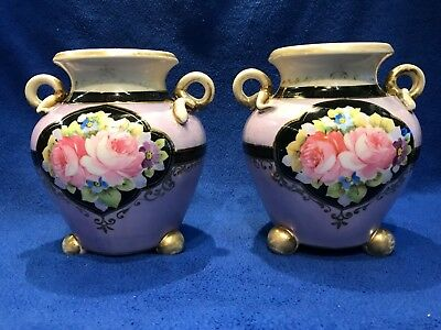 """Pair of Antique Hand Painted Nippon Floral 5 1/2"""" Vases"""