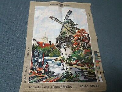 "Seg de Paris tapestry canvas - Le moulin a vent -""The Windmill"" - completed"