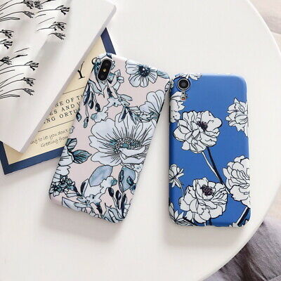 Shockproof IMD Matte Flower Soft Back Case Cover For iPhone XR XS Max X 8 7 Plus