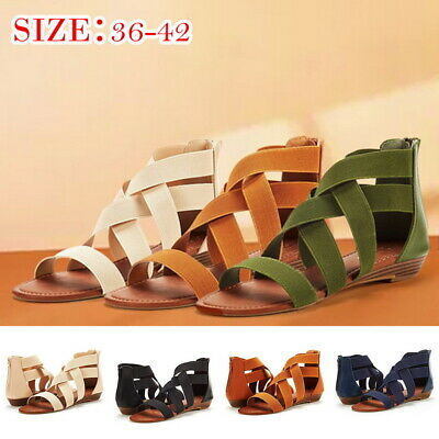 3b4b31d5a Women s Ladies Summer Roman Sandals Shoes Cross Elastic Strap Ankle Wedges  WDS