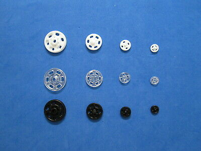 Black/White/Clear Plastic Sew On Snap Fasteners Press Studs 4 SIZES