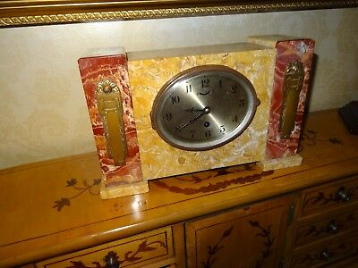 An Original Large Marble Art Deco Mantel Timepiece with Brass Fittings