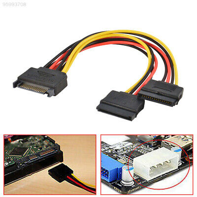 E345 SATA Male to 2 Female Wire Power Extension Cable Line Connector Adapter
