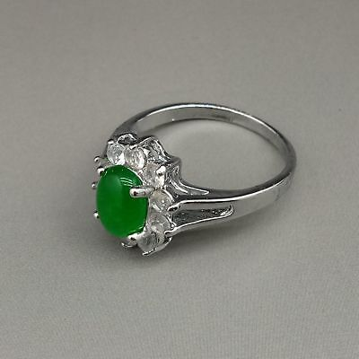 Chinese Exquisite Tibetan silver inlaid green jade Fashion Ring   L399
