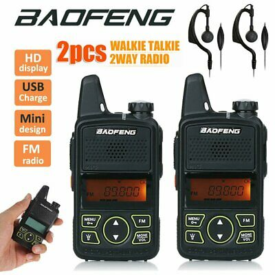 2X Baofeng BF-T1 Walkie Talkie Mini Handheld Radio FM Transceiver + PTT Earpiece