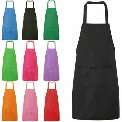 Men Women BLack Chef Apron Catering Cooking Kitchen Butcher Bib with Pocket BBQ