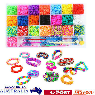 DIY Rainbow Loom Band Storage Kit 4400 Bands Board Loom Hooks Clips Charms AU